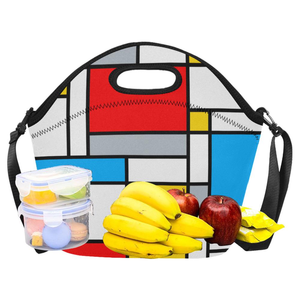 Mondrian Style Color Composition Geometric Retro Art Neoprene Lunch Bag/Large (Model 1669)