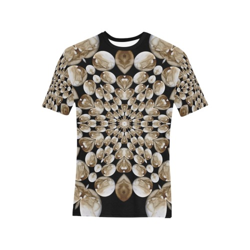 coffee painting star Men's All Over Print T-Shirt (Solid Color Neck) (Model T63)