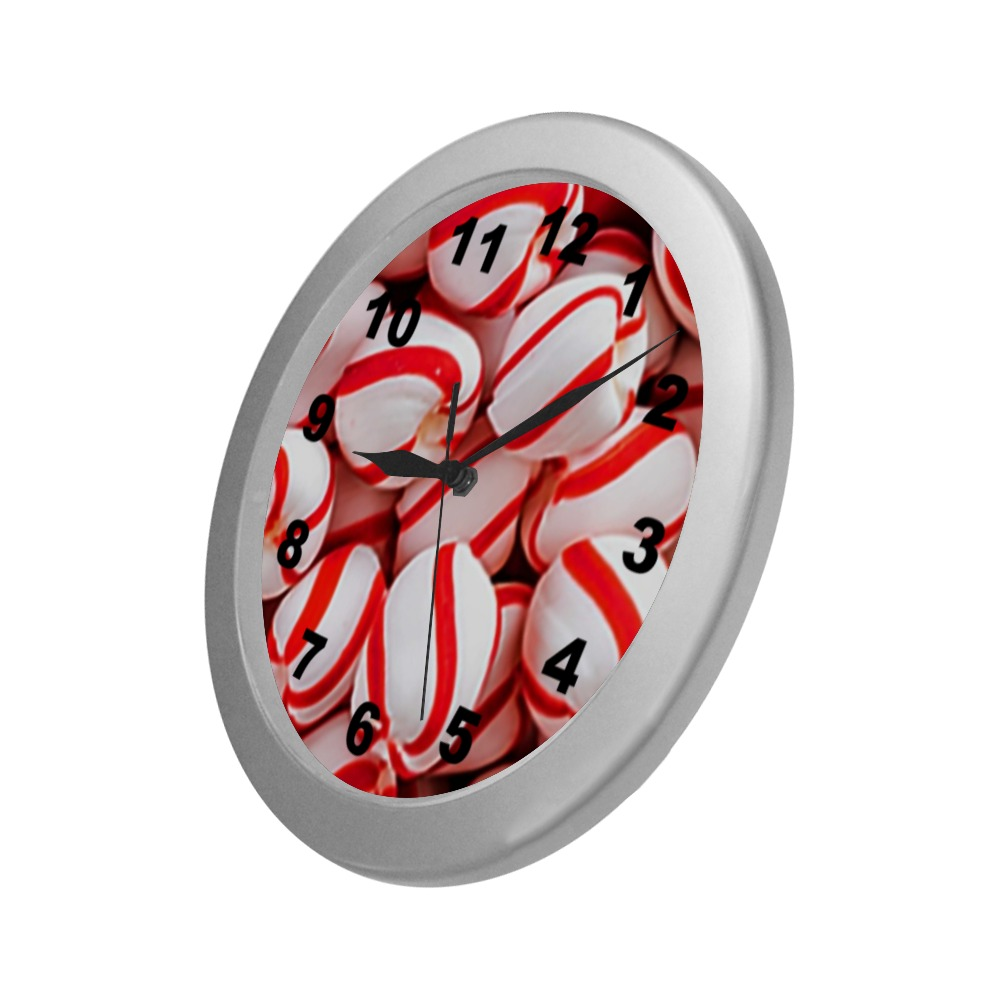 Peppermints Silver Color Wall Clock