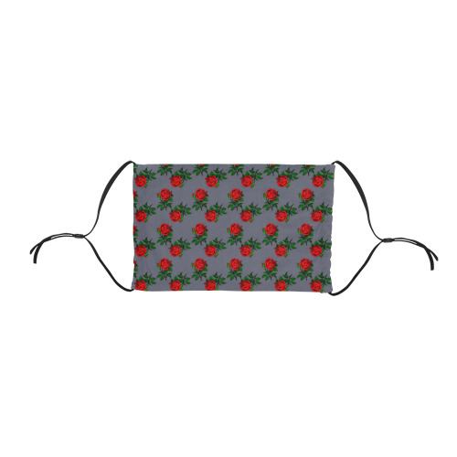 red roses grey Flat Mouth Mask with Drawstring (Model M07)
