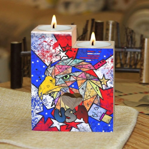 USA 4th july by Nico Bielow Wooden Candle Holder (Without Candle)