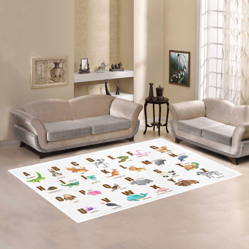 Colorful Alphabet with Animals Area Rug7'x5'