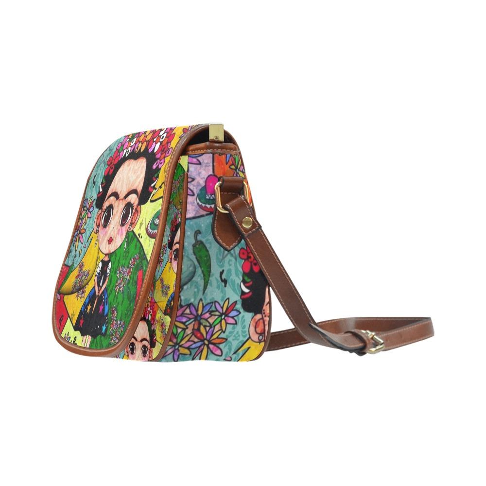 Frida Pop Art by Nico Bielow Saddle Bag/Large (Model 1649)