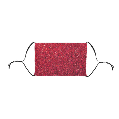 red  glitter Flat Mouth Mask with Drawstring (Model M07)