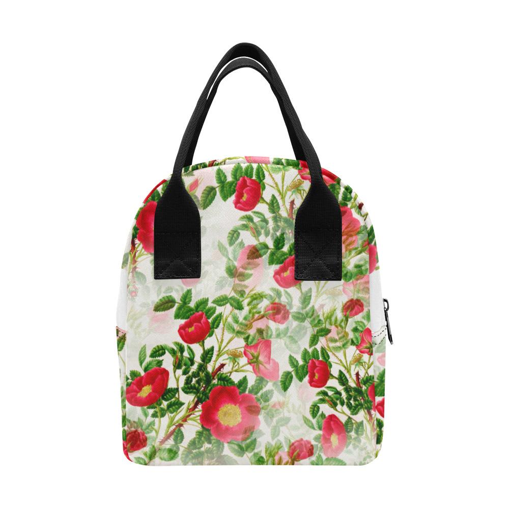 Vintage Red Floral Blossom Zipper Lunch Bag (Model 1689)