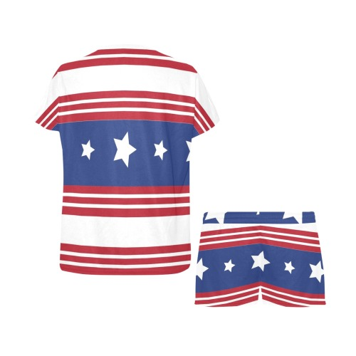 Red White and Blue Patriotic Women's Short Pajama Set (Sets 01)