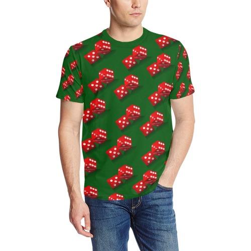 Las Vegas Craps Dice / Green Men's All Over Print T-Shirt (Solid Color Neck) (Model T63)