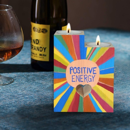 Positive Energy Wooden Candle Holder (Without Candle)