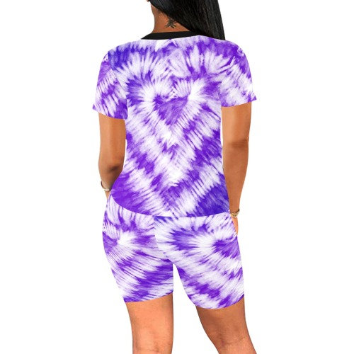 conjunto gimnasio corazon violeta Women's Short Yoga Set (Sets 03)