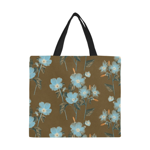 Rustic Blue Floral Bouquet All Over Print Canvas Tote Bag/Large (Model 1699)