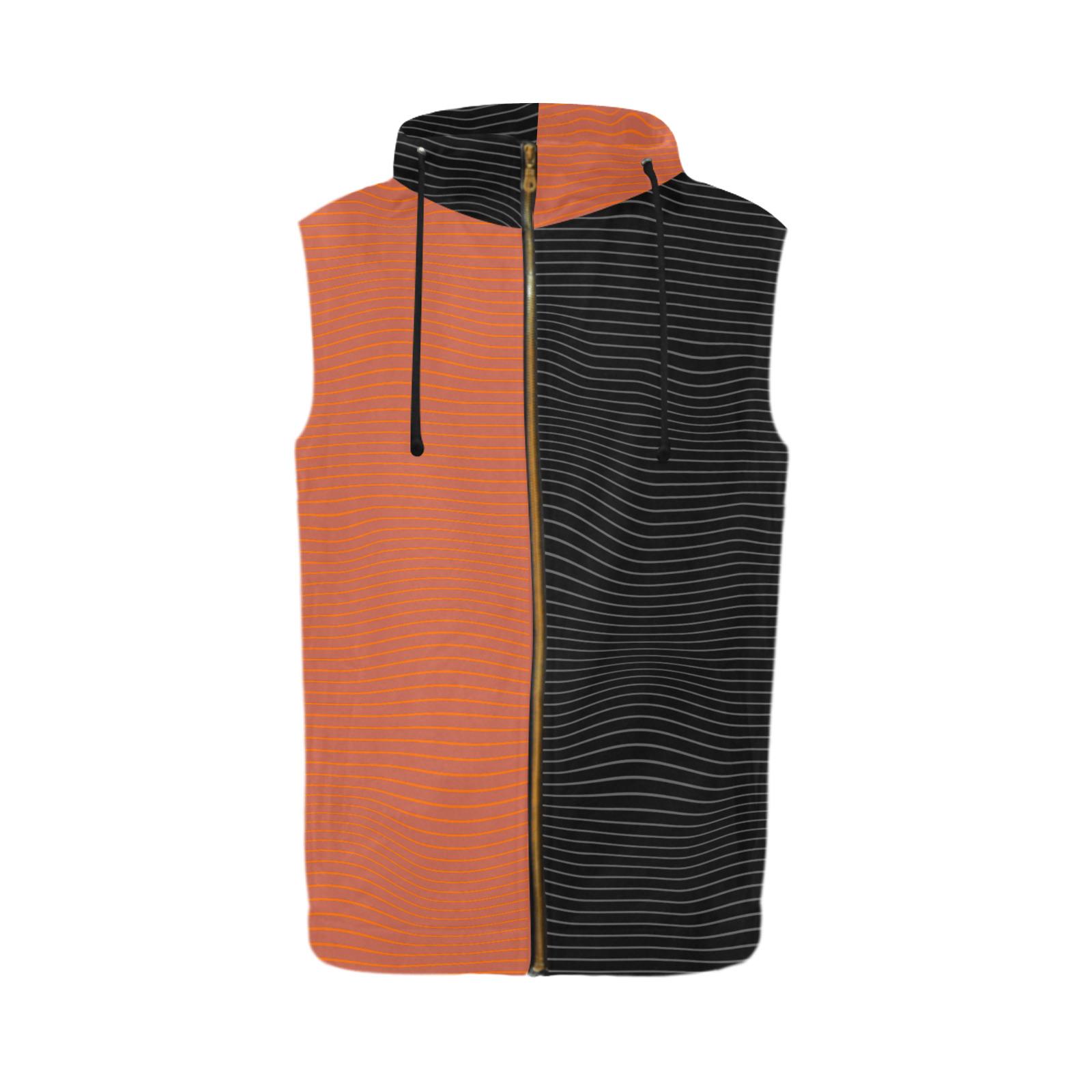 Black & Orange All Over Print Sleeveless Zip Up Hoodie for Men (Model H16)