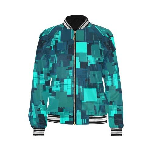 Random Shapes Pattern (Teal) All Over Print Bomber Jacket for Women (Model H21)