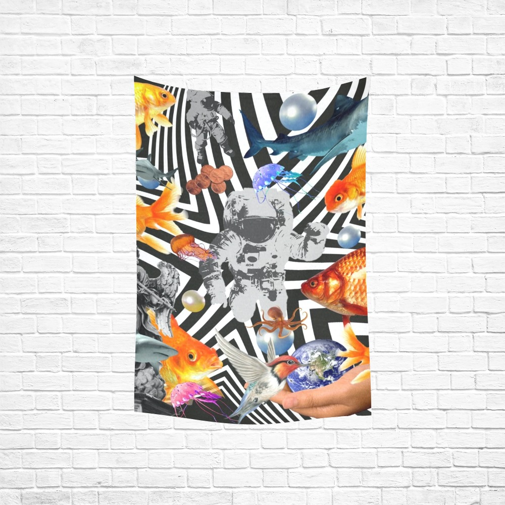 """POINT OF ENTRY 2 Cotton Linen Wall Tapestry 40""""x 60"""""""