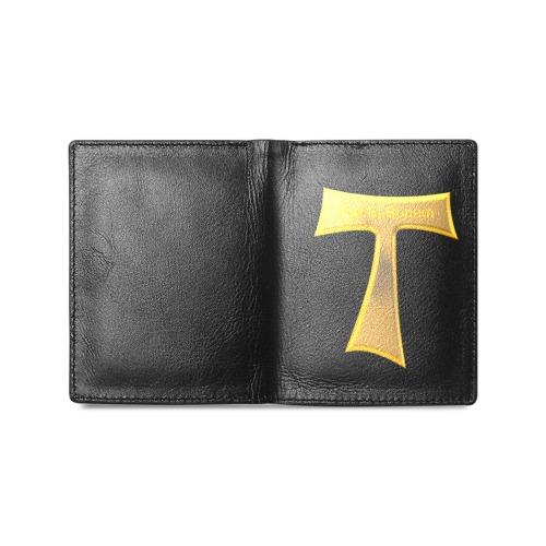 Franciscan Tau Cross Pax Et Bonum Gold  Metallic Men's Leather Wallet (Model 1612)