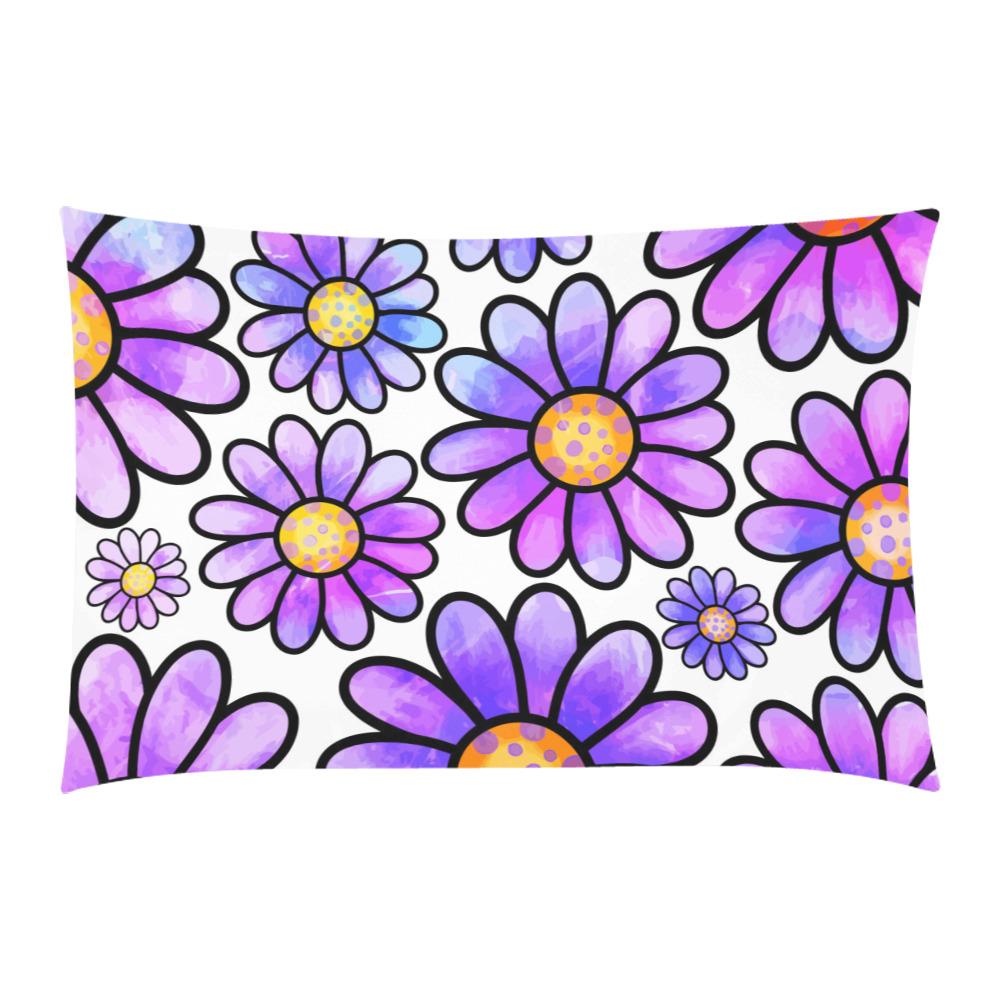 Lilac Watercolor Doodle Daisy Flower Pattern 3-Piece Bedding Set