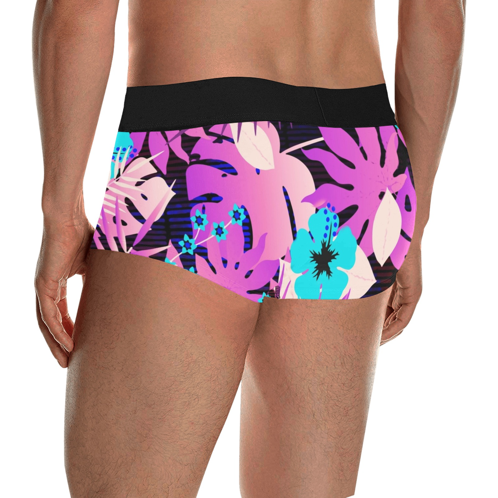 GROOVY FUNK THING FLORAL PURPLE Men's All Over Print Boxer Briefs/Short Size (Model L22)
