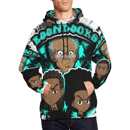 male blue boondocks hoodie All Over Print Hoodie for Men (USA Size) (Model H13)