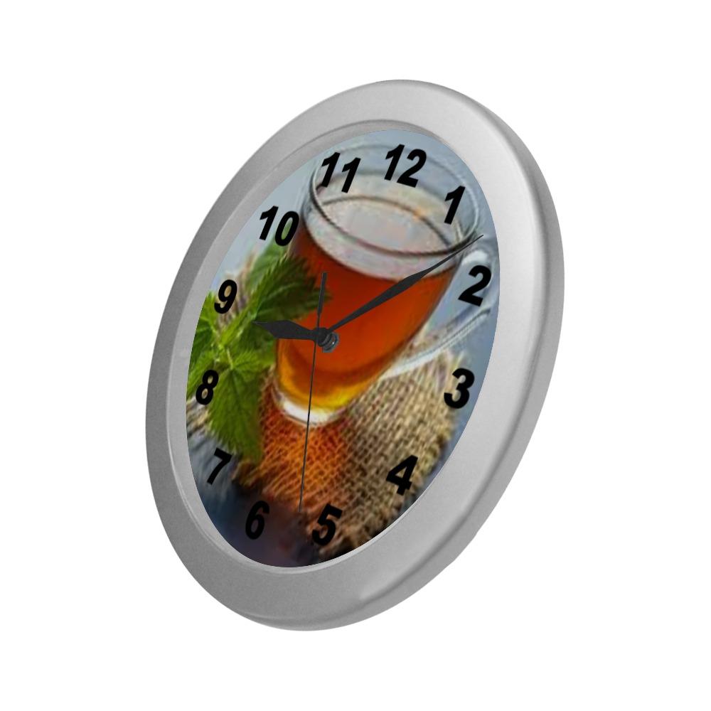 Tea Silver Color Wall Clock