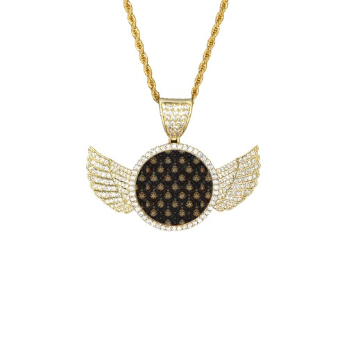 Royal Pattern by Nico Bielow Wings Gold Photo Pendant with Rope Chain