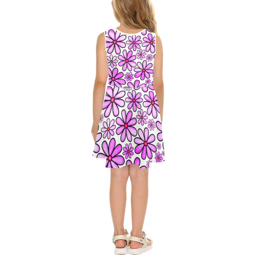 Pink Watercolor Doodle Daisy Flower Pattern Girls' Sleeveless Sundress (Model D56)