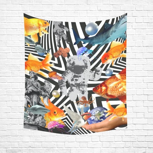 """POINT OF ENTRY 2 Cotton Linen Wall Tapestry 51""""x 60"""""""