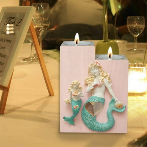 Mermaids Wooden Candle Holder (Without Candle)