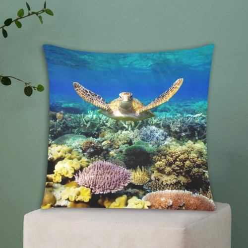 """Turtle gliding over Great Barrier Reef. Custom Zippered Pillow Cases 18""""x18"""" (Two Sides)"""