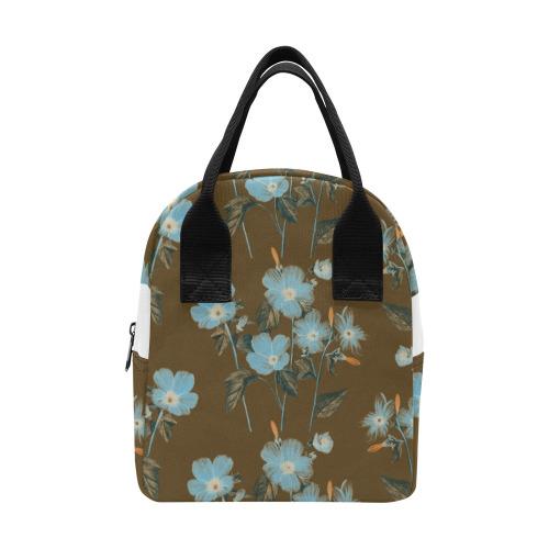 Rustic Blue Floral Bouquet Zipper Lunch Bag (Model 1689)