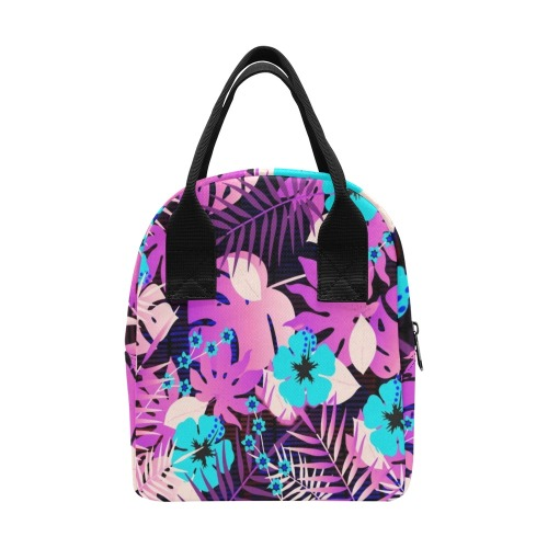 GROOVY FUNK THING FLORAL PURPLE Zipper Lunch Bag (Model 1689)