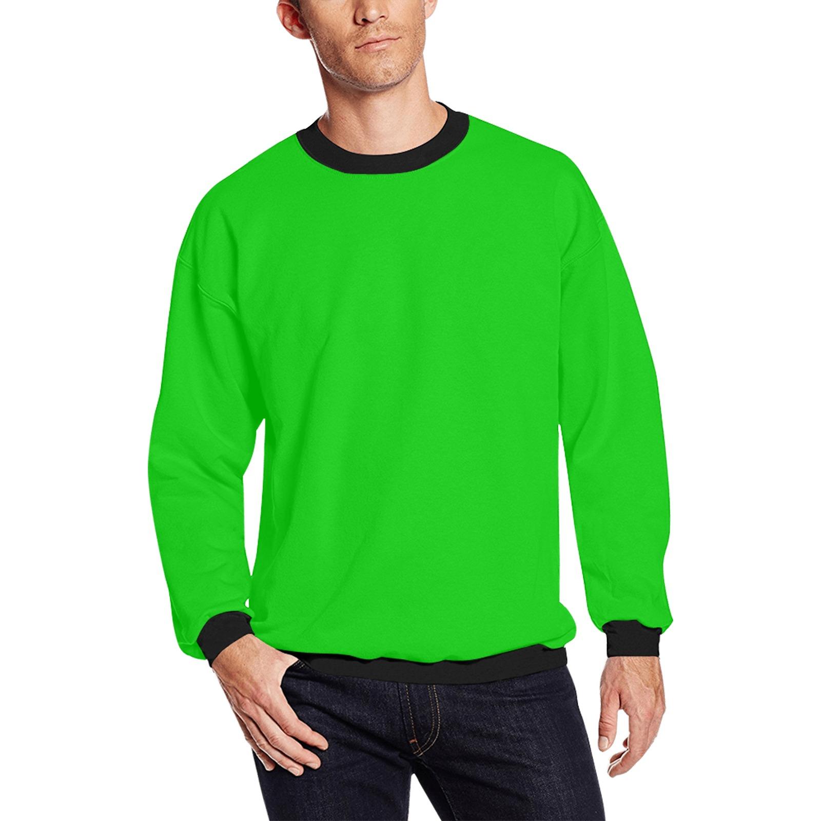 Merry Christmas Green Solid Color Men's Oversized Fleece Crew Sweatshirt (Model H18)