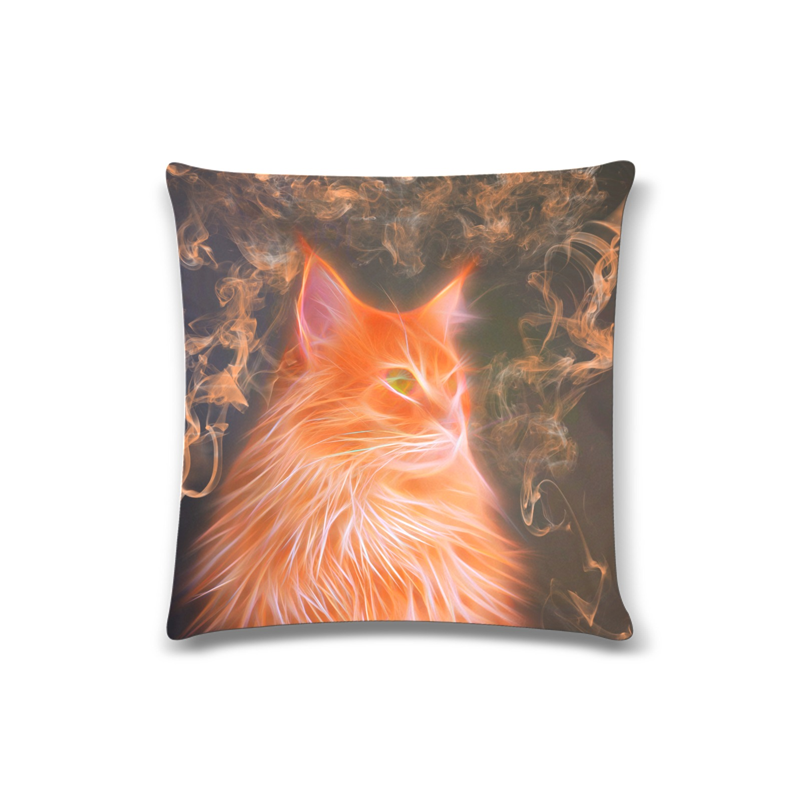 "Orange Cat Art Custom Pillow Case 16""x16""  (One Side Printing) No Zipper"
