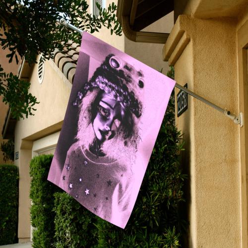 sad doll pink glow Garden Flag 28''x40'' (Two Sides Printing)