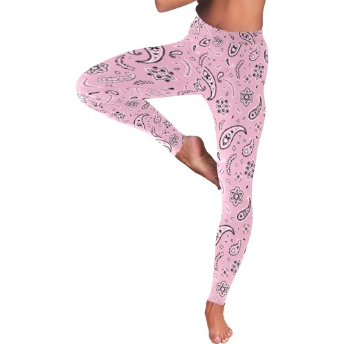 Pink Paisley Low Rise Leggings (Invisible Stitch) (Model L05)