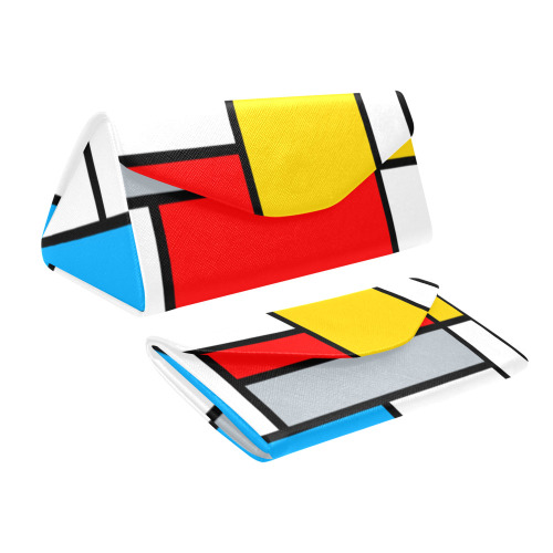 Mondrian Style Color Composition Geometric Retro Art Custom Foldable Glasses Case
