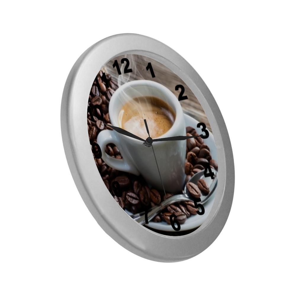 COFFEE Silver Color Wall Clock