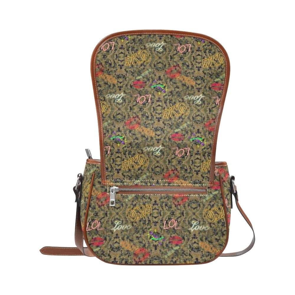 Camouflage Pop Art by Nico Bielow Saddle Bag/Large (Model 1649)