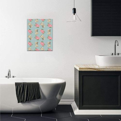 "retro dog floral pattern blue Frame Canvas Print 8""x10"""