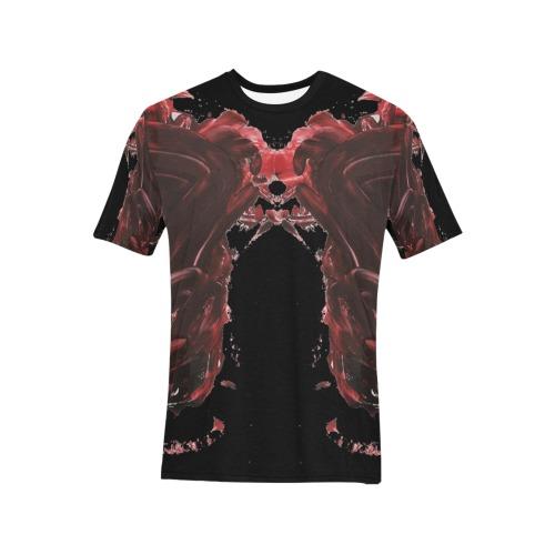 wild Men's All Over Print T-Shirt (Solid Color Neck) (Model T63)