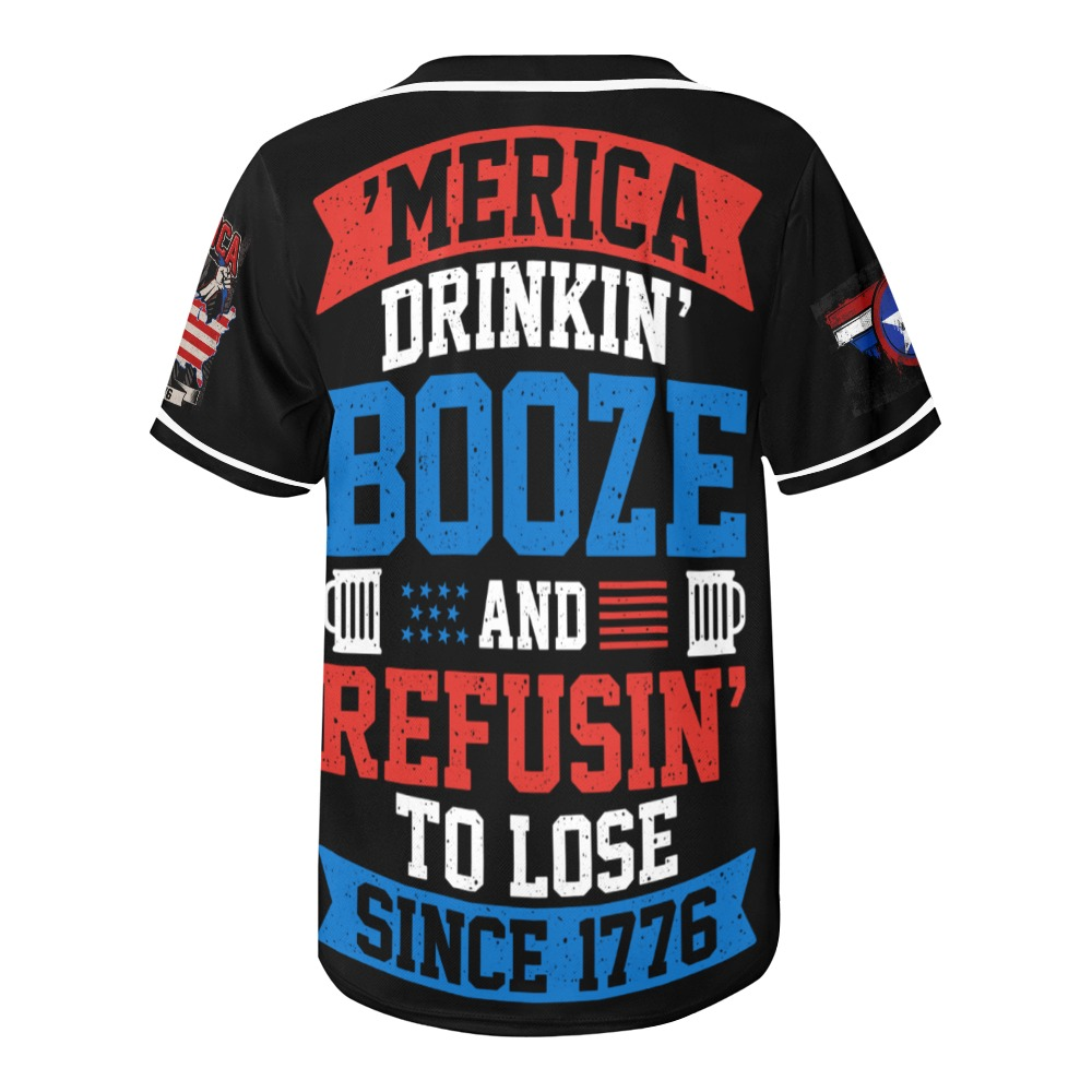 Merica Drinking Booze and Refusing to Lose All Over Print Baseball Jersey for Men (Model T50)