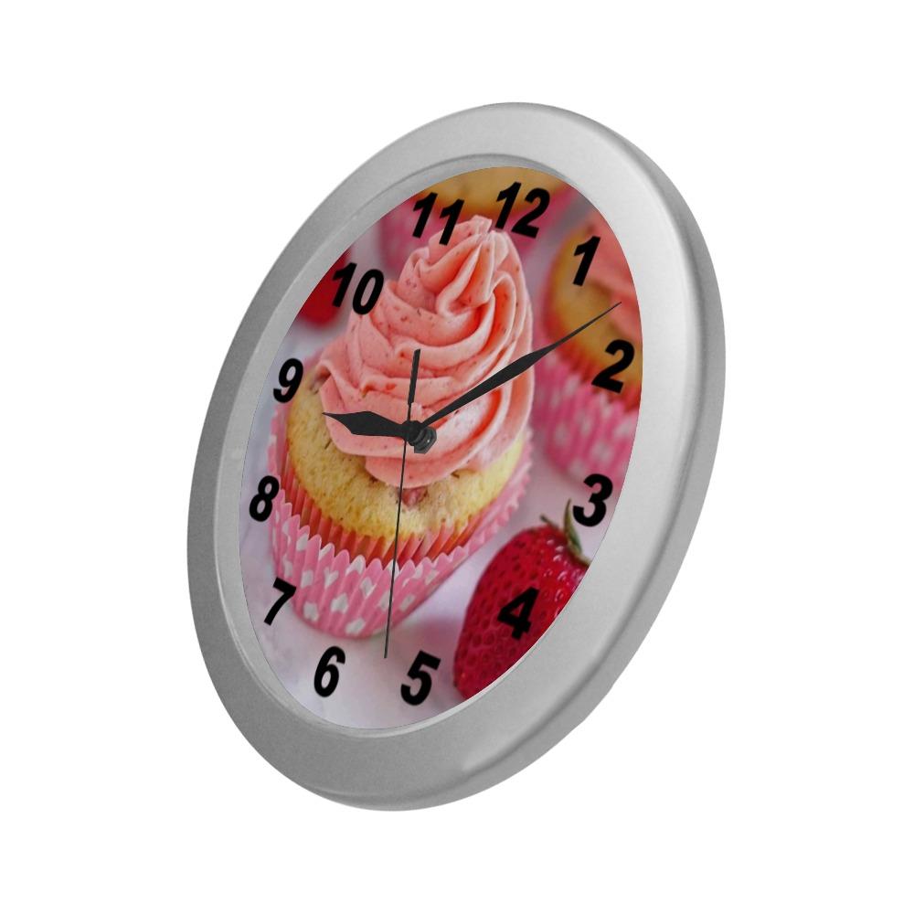 Pink Cupcake Silver Color Wall Clock