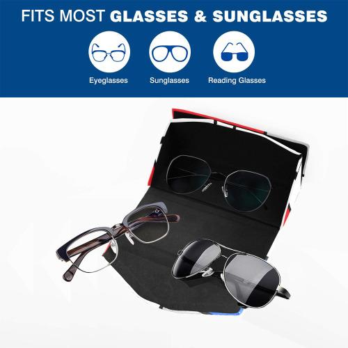 Geometric Retro Mondrian Style Color Composition Custom Foldable Glasses Case