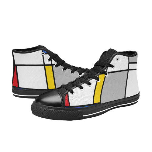 Geometric Retro Mondrian Style Color Composition High Top Canvas Shoes for Kid (Model 017)