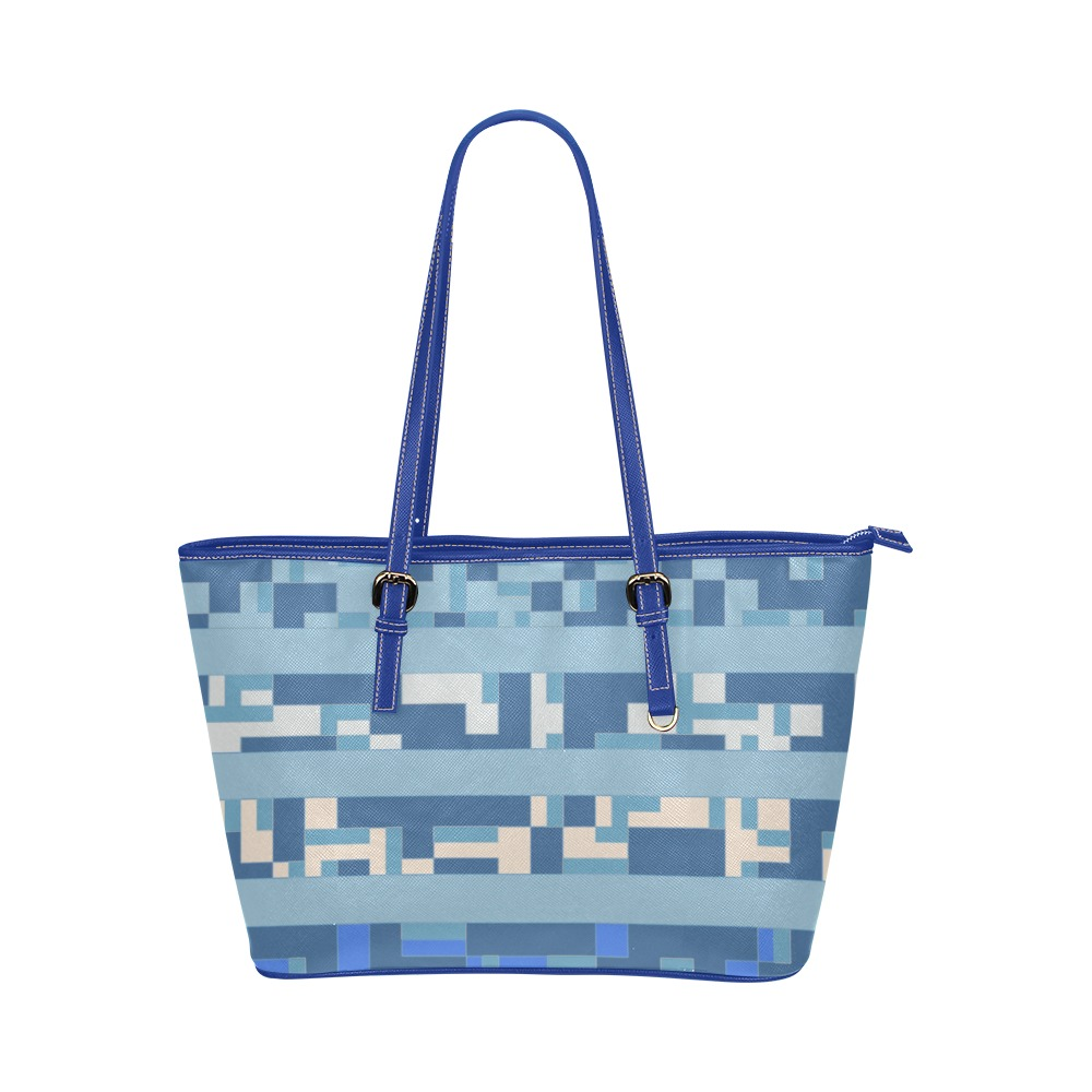 Stripes and Techie Pattern in Blue Leather Tote Bag/Small (Model 1651)