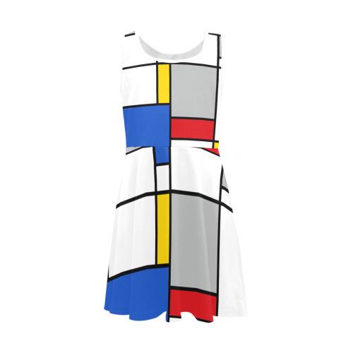 Geometric Retro Mondrian Style Color Composition Girls' Sleeveless Sundress (Model D56)