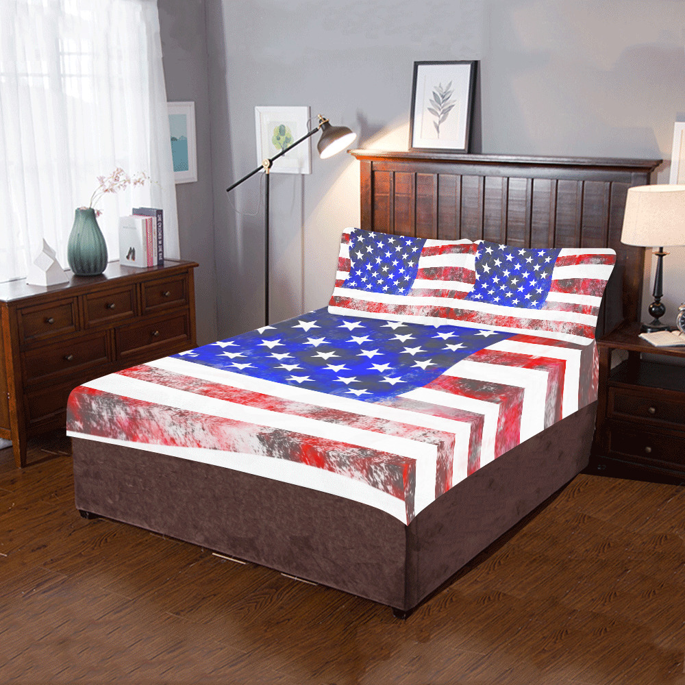 Extreme Grunge American Flag of the USA 3-Piece Bedding Set