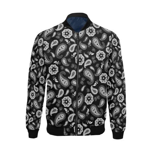Black Paisley All Over Print Bomber Jacket for Men (Model H19)