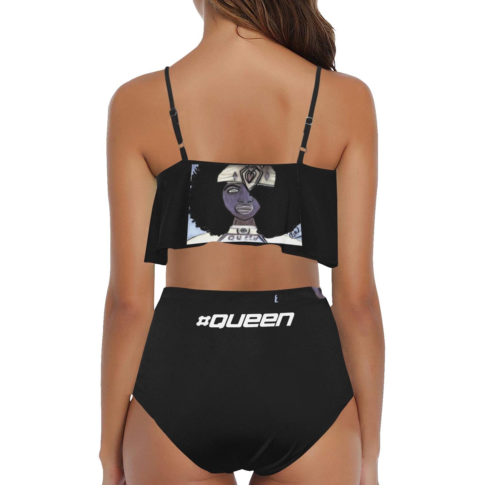 QUEEN SWIMWEAR1 High Waisted Ruffle Bikini Set (Model S13)