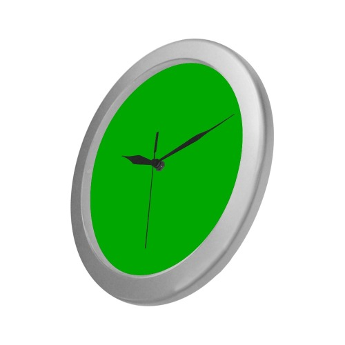 Merry Christmas Green Solid Color Silver Color Wall Clock