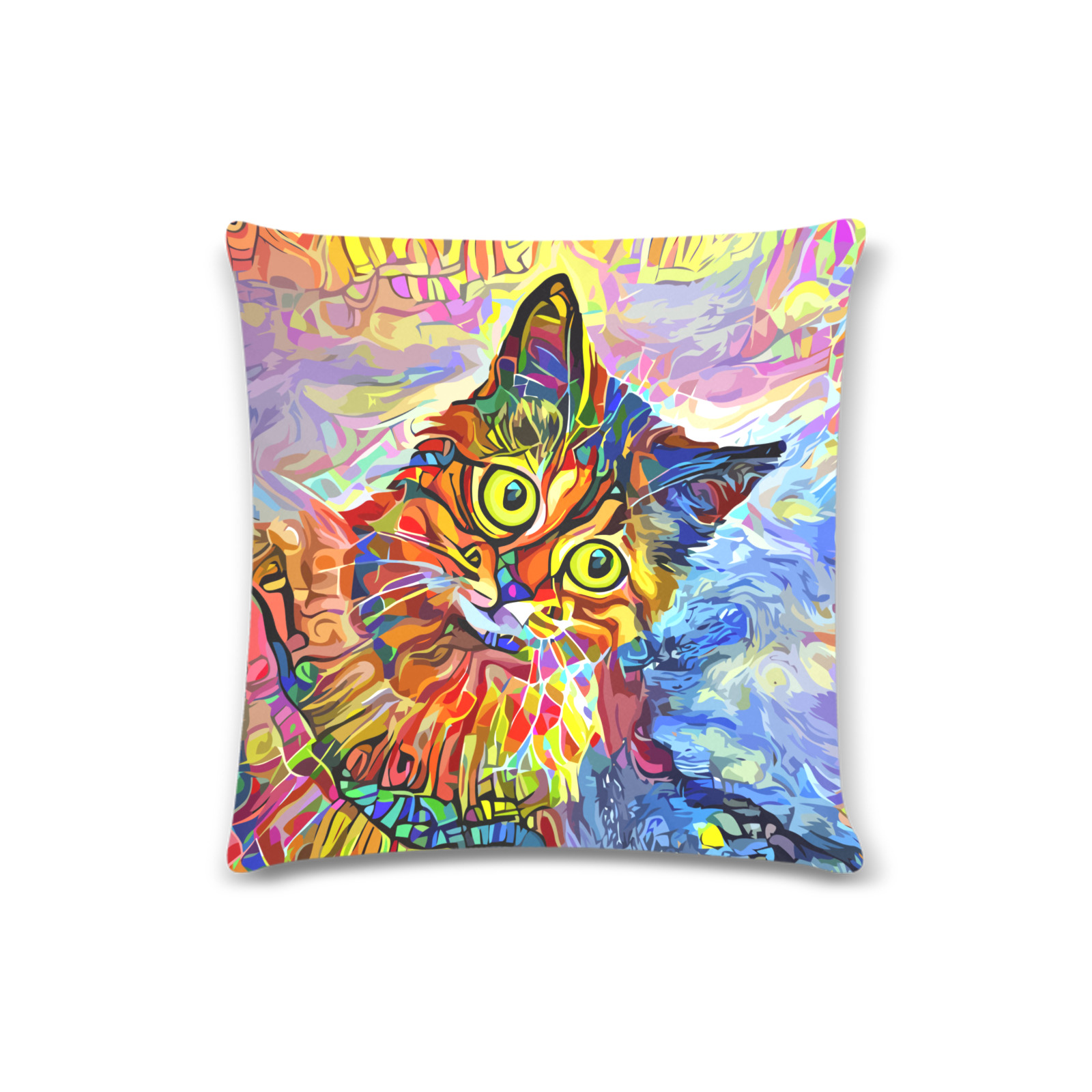 """Abstract Cat Face Artistic Pet Portrait Painting Custom Zippered Pillow Case 16""""x16"""" (one side)"""