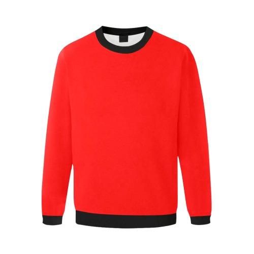 Merry Christmas Red Solid Color Men's Oversized Fleece Crew Sweatshirt (Model H18)